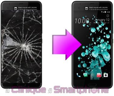 Réparation écran cassé HTC U Ultra à Lyon 69